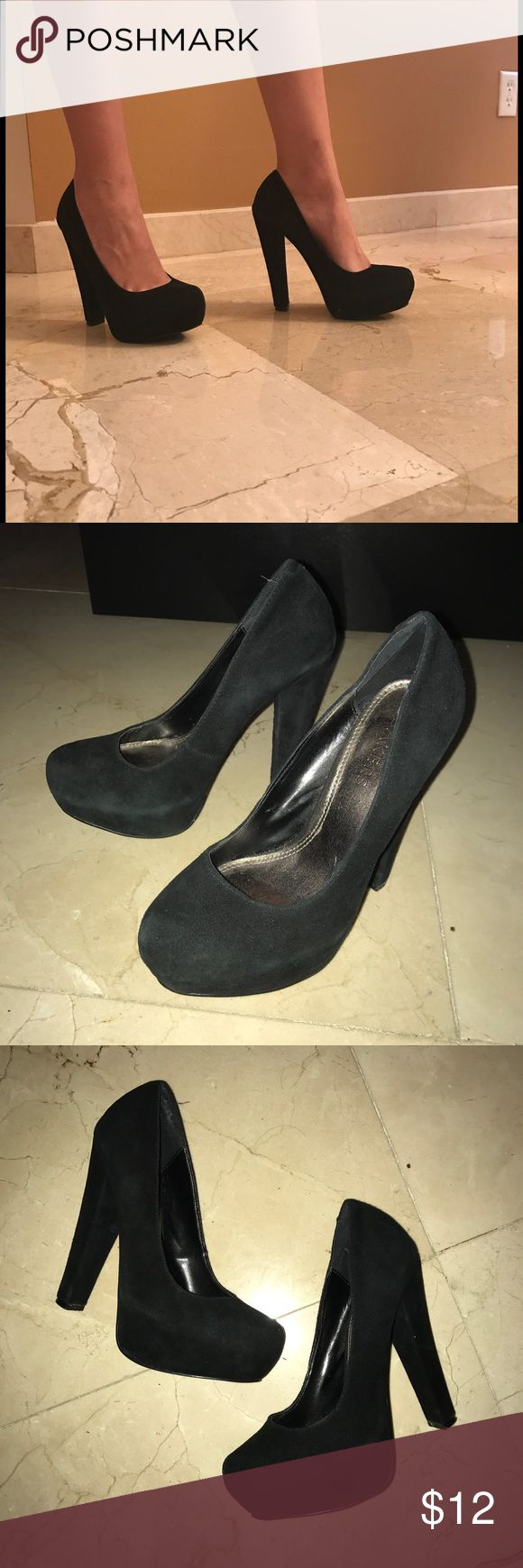 Black suede pumps with chunky heel Worn a handful of times but still in good condition 7/10. Some signs of wear.  NOT Steve Madden, bought at Bakers Steve Madden Shoes