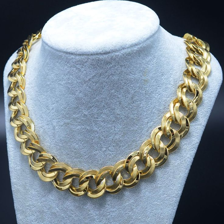 50CM 21MM Gold Chain Necklaces For Men - Real Gold Plated Wholesale Big Necklace Man Jewelry Arab/Thailand/Cuban/Egypt/African #GoldJewelleryArabic #GoldJewelleryMen
