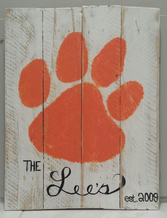 """Pallet Art - Custom Handpainted Distressed Clemson Tiger Paw Welcome Sign (14 3/4""""x18"""") on Etsy, $25.00"""