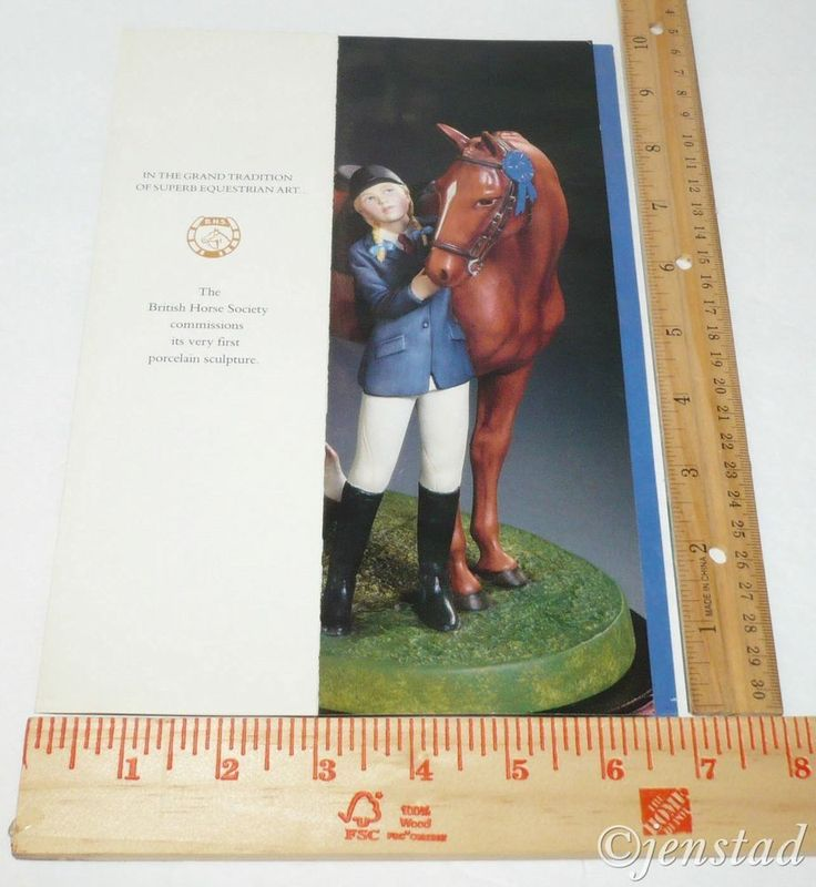 """PAMPHLET PRINT AD FRANKLIN MINT 'FIRST PRIZE' BRITISH HORSE SOCIETY 6""""x10"""" 1990 #franklinmint"""