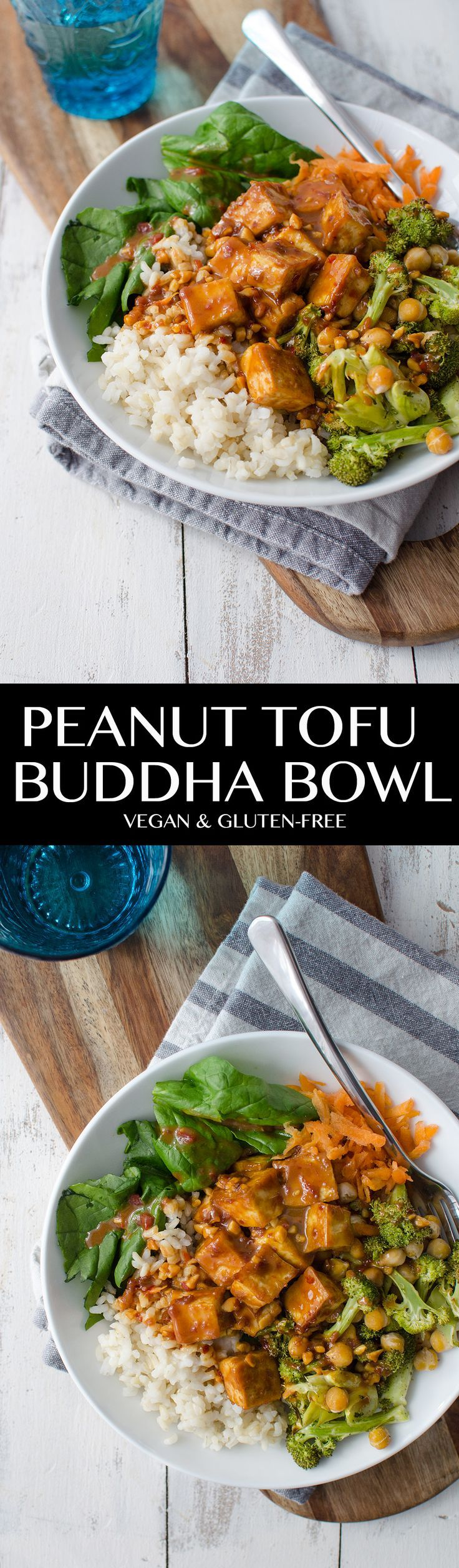 Peanut Tofu Buddha Bowl! A healthy lunch or dinner, perfect for the New Year! Brown rice, the BEST tofu, vegetables, roasted broccoli in a simple peanut sauce. Vegan and Gluten-Free. | http://www.deli