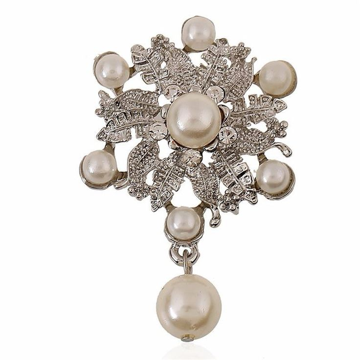 Luxury Silver Plated Flower Austria Crystal Pear Charm Water Drop Brooches Pin Women Costume Jewelry Wedding Bouquet Brooch