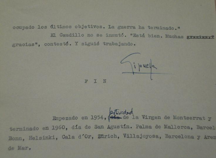José María Gironella, Un millón de muertoss.a. Mecanografiado. Con anotaciones manuscritas y firma autógrafa al final.