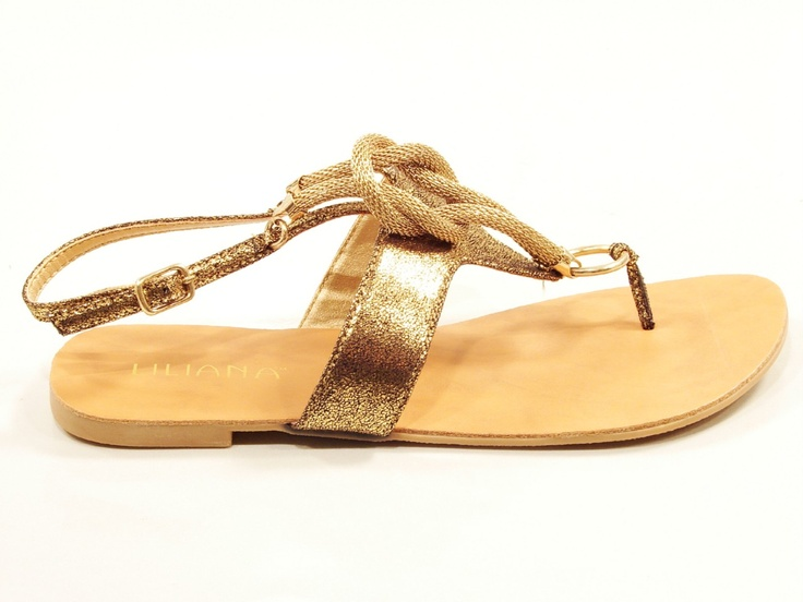 "LILIANA ""RESTRIT"" GOLD ROPE THONG STRAP SLING BACK SANDALS FLATS 
