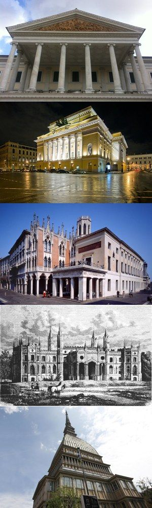 Cinque famosi architetti italiani dell'Ottocento