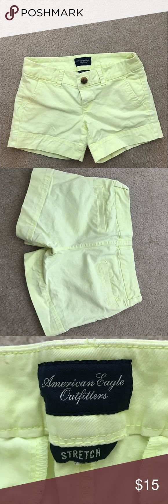 American Eagle neon yellow shorts Size 0. Stretch American Eagle Outfitters Shorts