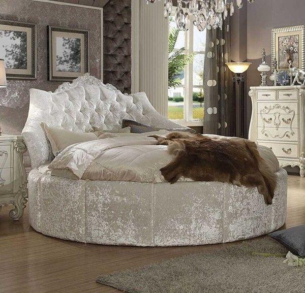 Acme Versailles Round Bed 87 Dia Vintage Fabric Bone White