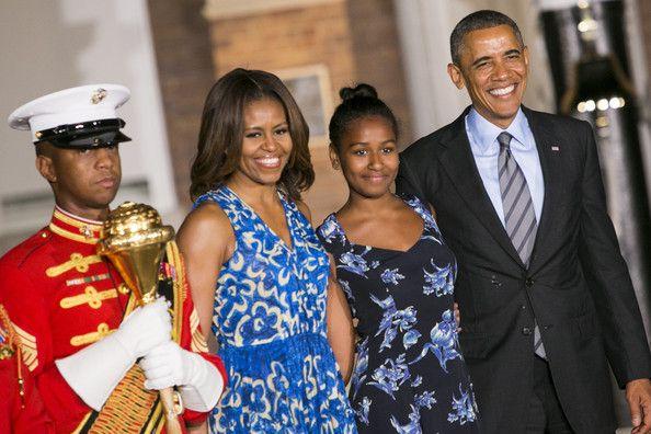 Barack Obama Sasha Obama Photos: President Obama Attends the Marine Barracks Evening Parade