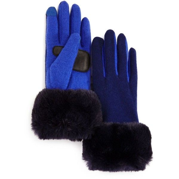 Echo Faux Fur Cuff Tech Gloves ($39) ❤ liked on Polyvore featuring accessories, gloves, echo gloves, blue gloves, navy blue gloves, faux fur gloves and navy gloves