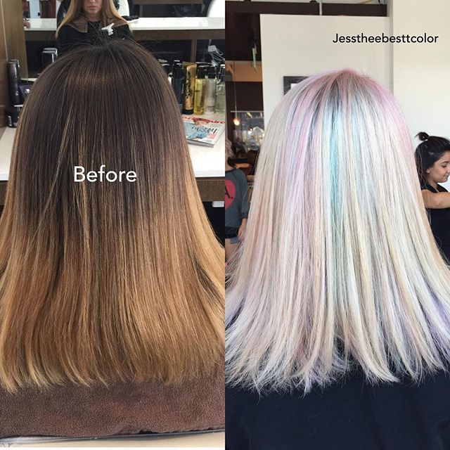 After 6 hours... She got opal hair!  I used 7th stage with 3 1/2 packets and 40 vol with @olaplex to lift to blonde, then toned her to a pearly blonde using @lorealprous #dialight then I dried her and painted some pieces using @pravana #jesstheebesttcolor #sallyhershbergerla #pravanapastels