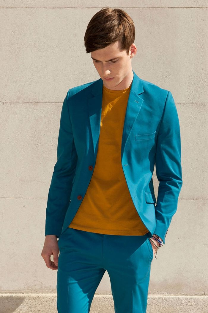 Summer Suit. A Sea of Blue. A Punch of Orange. Menswear.