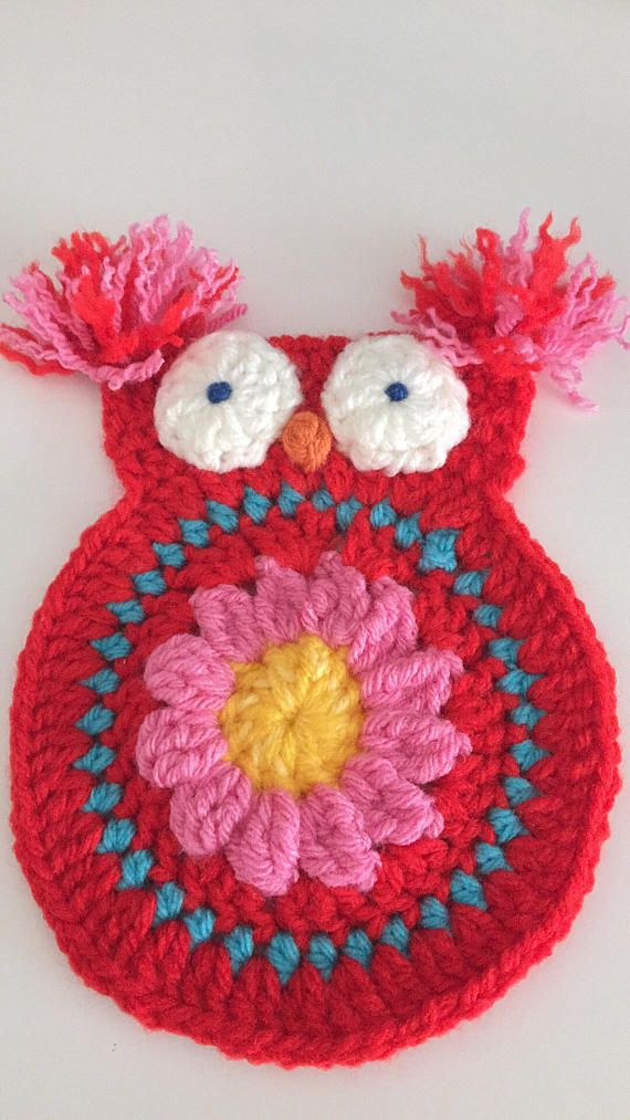 Crochet owl pack large flowers hearts wool applique  hand
