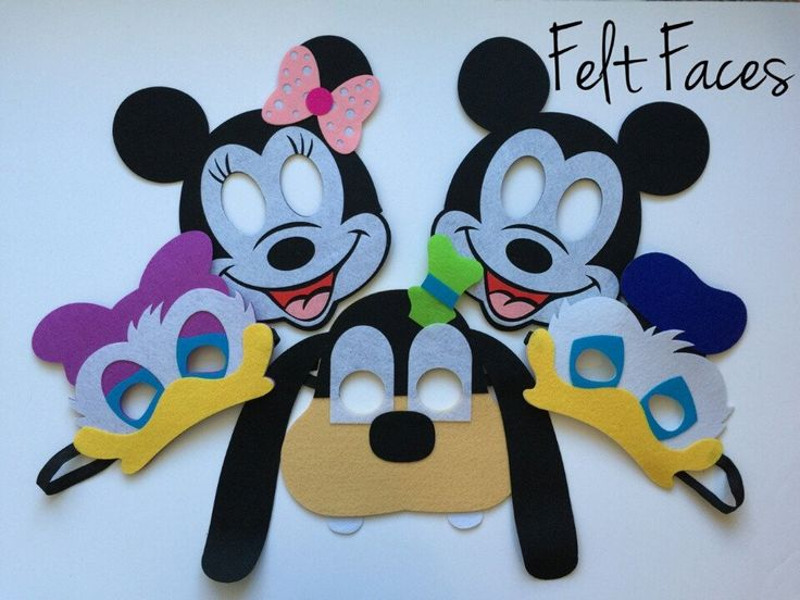 One set of 5 Mickey Mouse Clubhouse party masks, one of each style shown in the photo. Each mask is made with premium felt, and has a black elastic band sewn to each side of the back. These adorable p