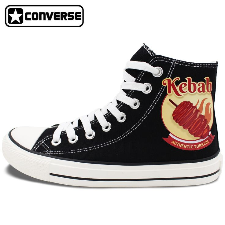 Black Shoes Converse Chuck Taylor Men Women's Flats Design Kebab High Top Canvas Sneakers Lace Up for Gifts #Affiliate