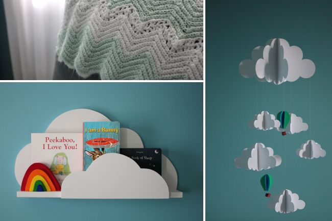 Modern Teal Nursery with Cloud Bookshelf and Mobile: Cloud Theme, Cloud Bookshelf, Cloud Mobile, Clouds Nursery