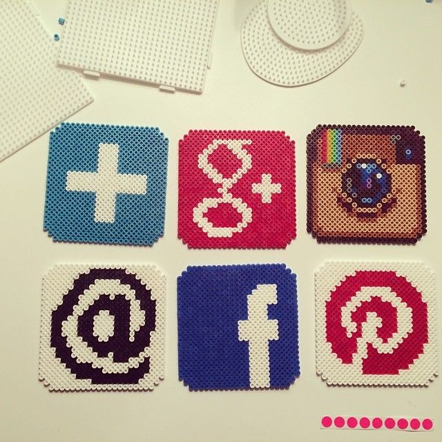Social Network icons hama beads by mitkrearum