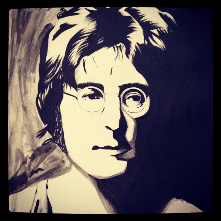 John Lennon, black and white acrylic