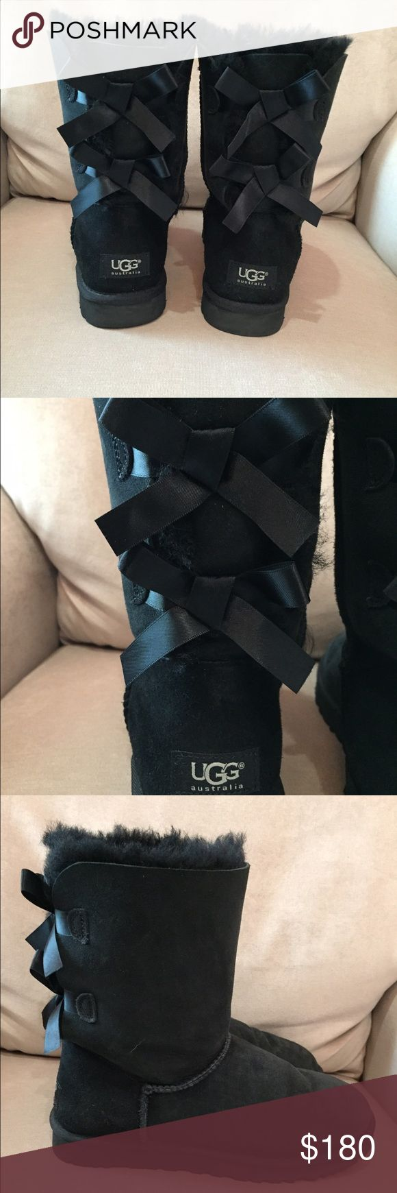 Ugg Bailey Bow Boots Black and only work a few times! Excellent condition! UGG Shoes Winter & Rain Boots