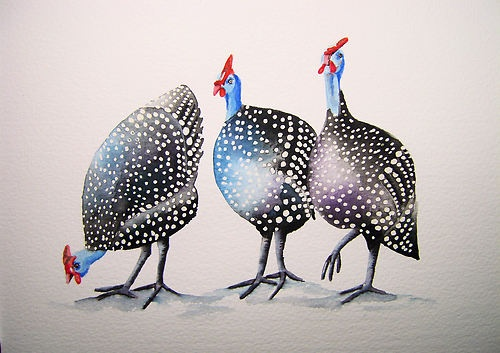 """GUINEA FOWL"" ORIGINAL ART Watercolour Painting by Maria Moss"
