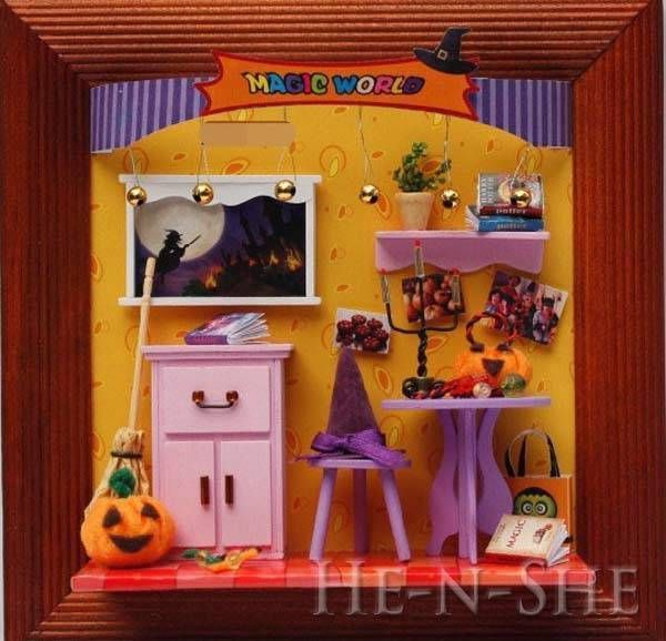 DIY Wooden Dollhouse Miniature Photo Halloween Magic World M013 #henshe