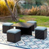 Belham Living Cara All Weather Wicker Coffee Table and Stools