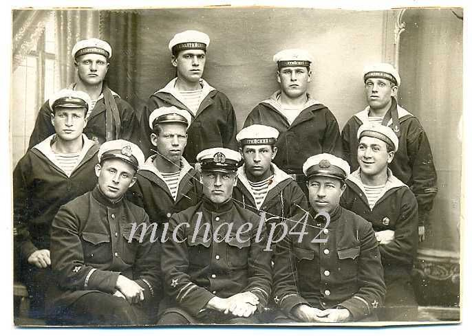 Russian Soviet Navy Baltic Fleet Officers and Sailors with Badge Photo 1930