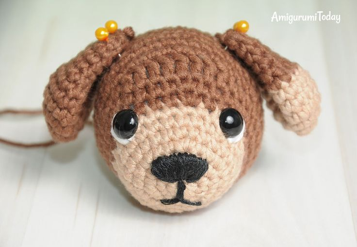 Crochet Timmy the Dog Amigurumi Pattern - embroidering muzzle