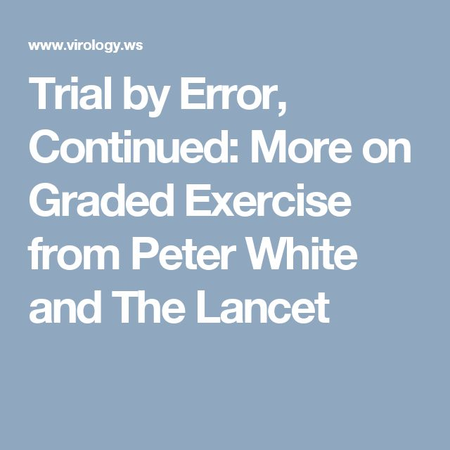 Trial by Error, Continued: More on Graded Exercise from Peter White and The Lancet