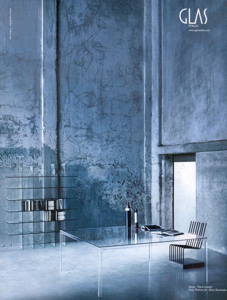 OSCAR high table design Piero Lissoni / GLASS SHELVES #1 design Shiro Kuramata
