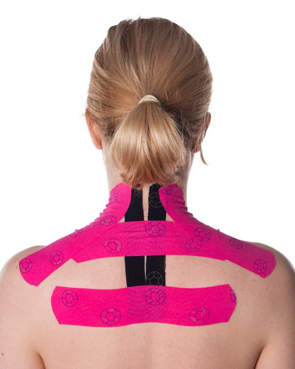 Sore traps? Stiff neck? Check this kinesio tape technique for the upper back, neck and shoulders. Instructions + pictures from Physical Sports First Aid.