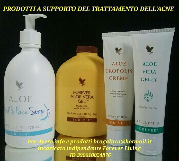 Prodotti a supporto del trattamento dell'acne sapone Aloe vera crema Propolis e gel di Aloe Vera