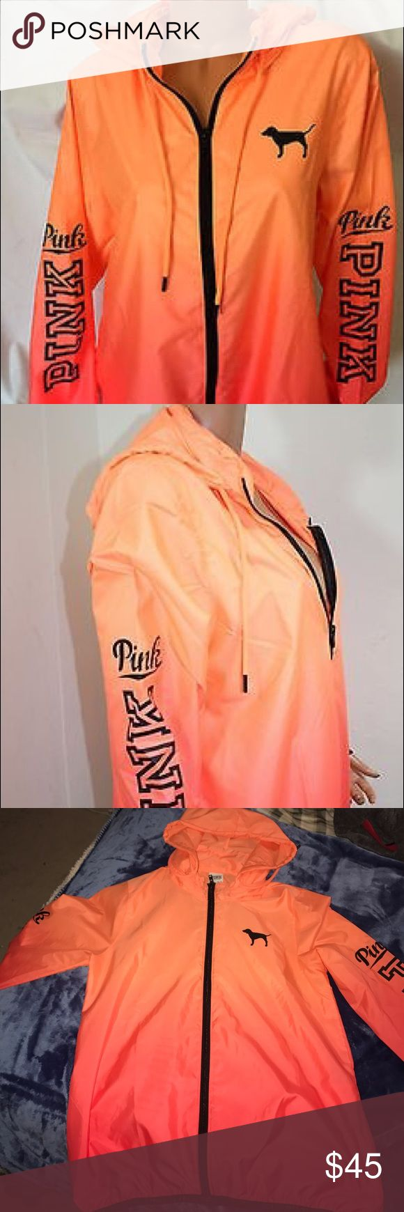 VS Pink wind Breaker Orange coral ombré wind breaker in size XS,S,TP,P only worn once PINK Victoria's Secret Jackets & Coats