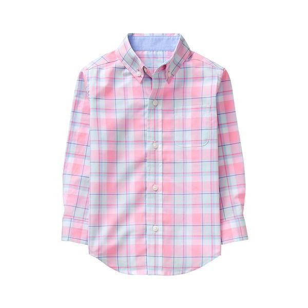Boy Strawberry Pink Plaid Plaid Madras Shirt by Janie and Jack