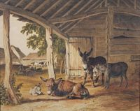 "Lot No 553 R Hills 1811, watercolour drawing, a farmyard study of donkeys in a barn with figures and animals, signed and dated 15 1/2"" x 19 1/2"", sold for £680"