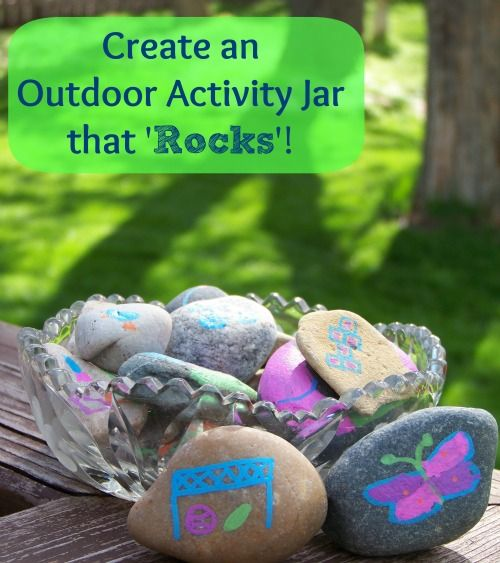 {Outdoor Activity Jar}  Fun & Easy craft to make with the kids!  Paint rocks with pictures of things to do outside & get kids excited to explore the outdoors!