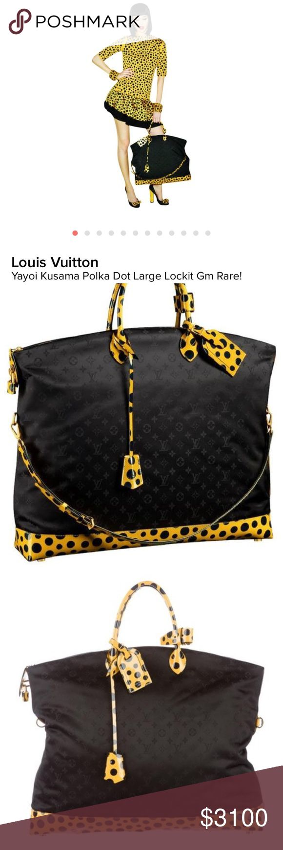 LOUIS VUITTON YAYOI KUSAMA POLKA DOT TOTE BAG!! You are looking at a highly sought after Limited Edition Louis Vuitton Polka Dot Infinity Lockit GM Tote from the Yayoi Kusama collection. As seen on Lady Gaga!!  Black LV monogram nylon with brass hardware, dual rolled top handles, optional shoulder strap, yellow polka dot patent leather trim throughout, tonal quilted monogram interior lining, single interior wall pocket with zip closure and zip closure at top. Includes original tags and care…