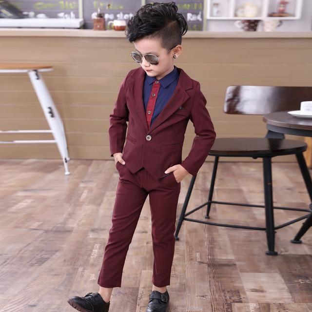 Kids Boys Wedding Party Blazer Suit Coat+Vest+Pants Piano Costume Englon Clothes