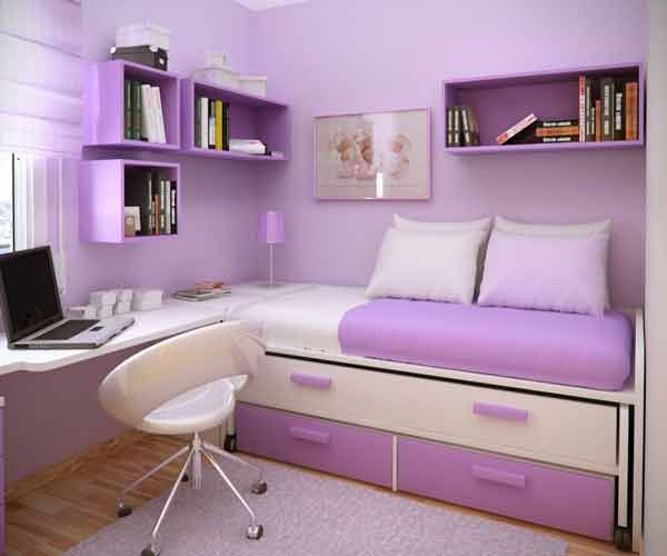 This is a really cute idea for a girl's bedroom if you have little space to work with.