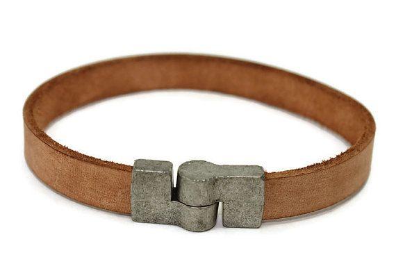 Men's leather bracelet - leather bangle - man bracelet - flat leather bracelet…