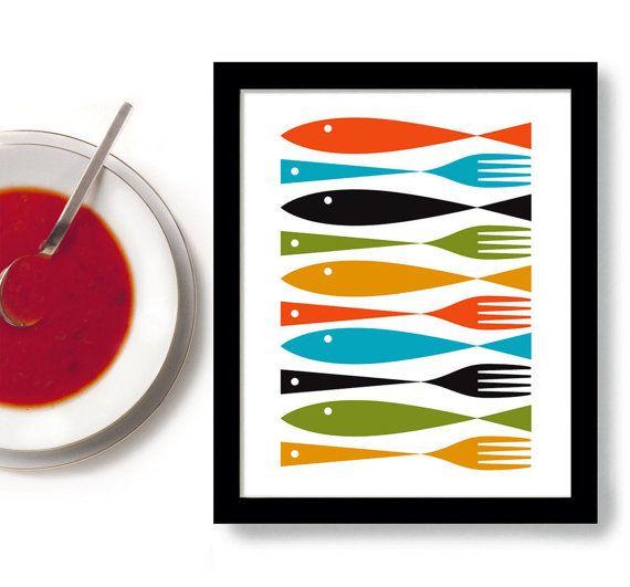 Kitchen Art Mid Century Modern Art Kitchen Decor by DexMex on Etsy