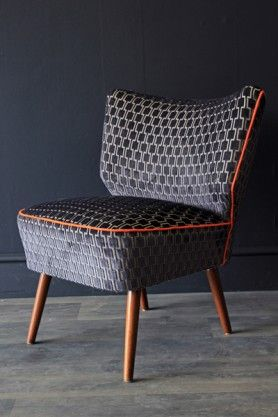 Upcycled Vintage 1950s Bartholomew Cocktail Chair - Charcoal Grey Underground Velvet