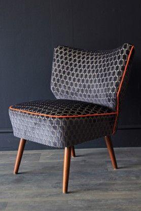 Upcycled Vintage 1950s Bartholomew Cocktail Chair - Charcoal Grey Underground Velvet