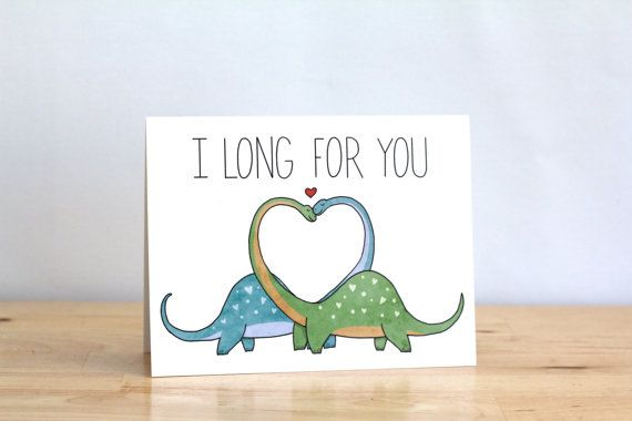 Funny Valentine. I Long For You. Dinosaurs. Dinos. Pun. Blank. Love. Funny. Cute. Illustration and Lettering. 100% Percent Recycled Paper. on Etsy, $4.00