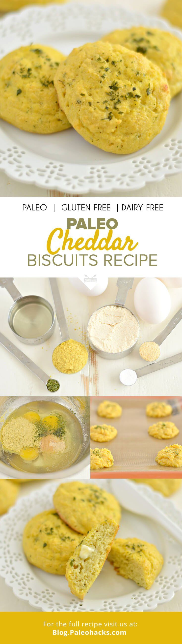 Crispy on the outside and soft on the inside, these Paleo Cheddar Biscuits make a delicious low carb, grain-free snack! For the full recipe visit us here: http://paleo.co/cheddarbiscuit