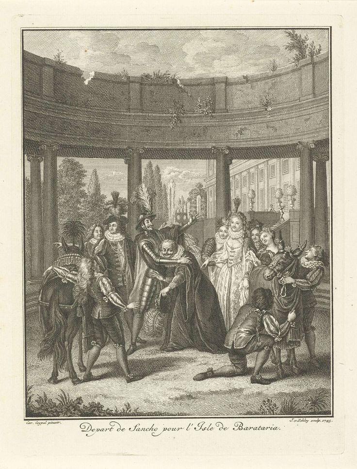 Jacob van der Schley   Don Quichot zegent Sancho, Jacob van der Schley, 1745   Sancho (de dienstknecht van Don Quichot en gouverneur van het imaginaire eiland Barataria) wordt door Don Quichot (in harnas) gezegend voordat hij op reis gaat. Om hen heen een groep met mensen.