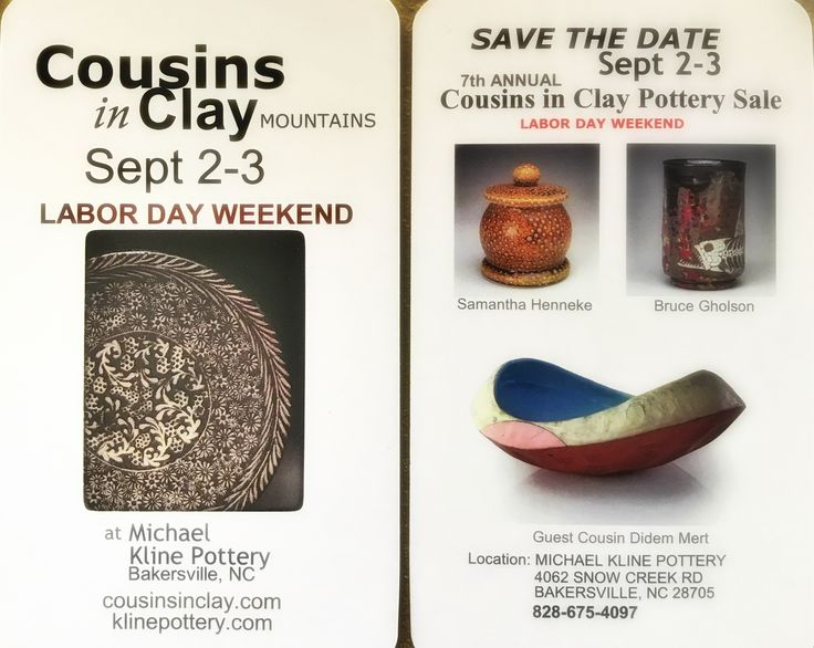 Save the date! Mountain Cousins in Clay, Labor Day Weekend September 2-3. Bakersville NC at Michael Kline Pottery 👉special guest, Didem Mert