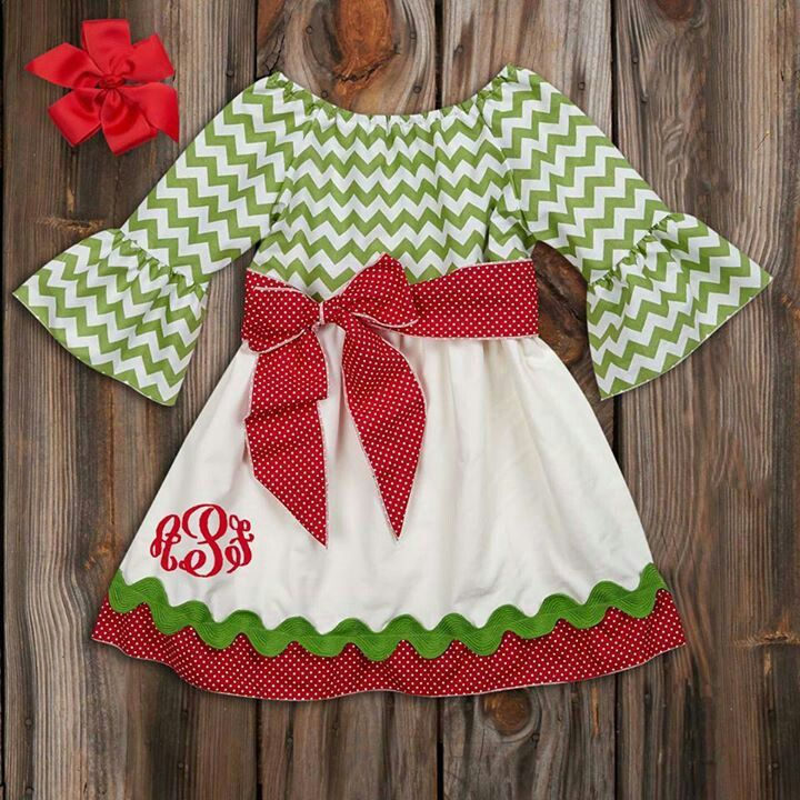 cute Christmas outfit for a little girl! love the monogram in the ...