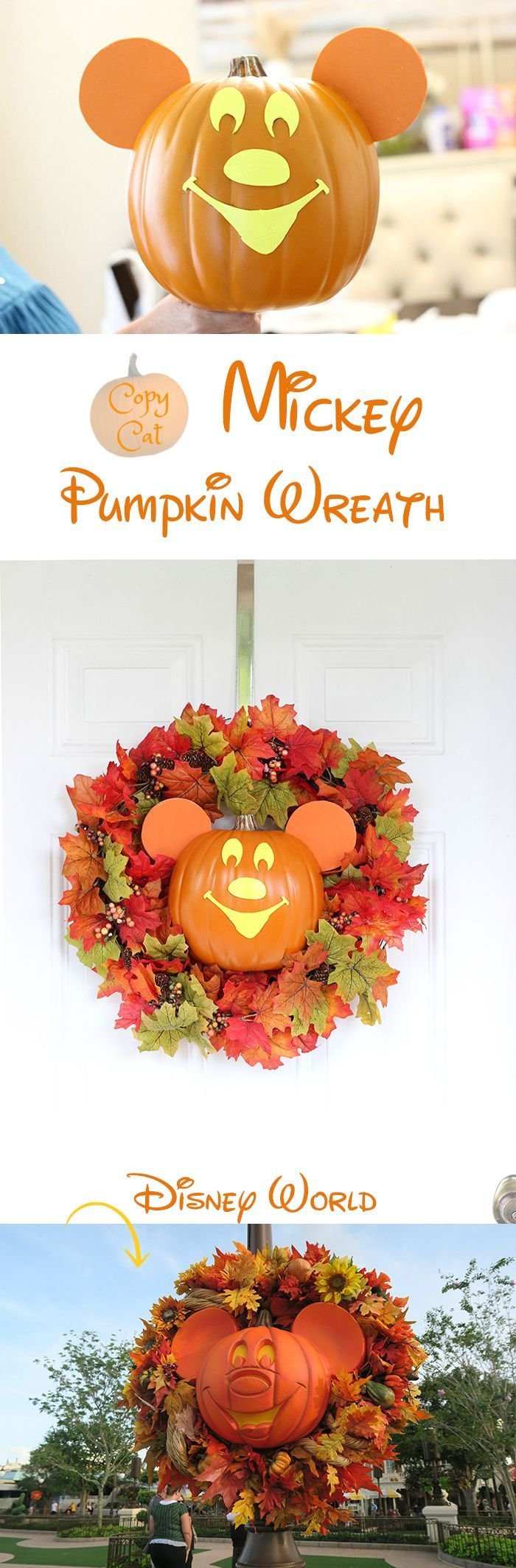 Mickey Halloween Wreath DIY. Copy Cat from Disney World, Mickey's Not So Scary Halloween Party.