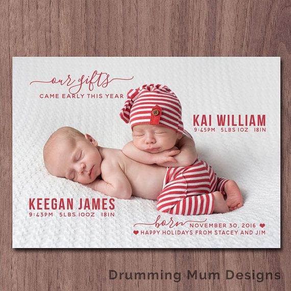 Modern twin christmas birth announcement holiday birth announcement boy or girl announcement twin