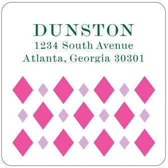Pink Argyle Address Labels